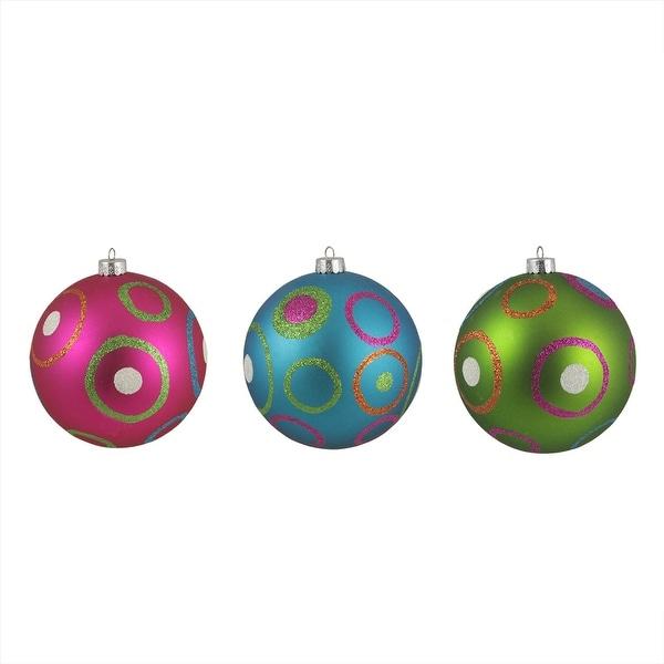 "3ct Colorful Dot and Circle Shatterproof Christmas Ball Ornaments 4.75"" 120mm"