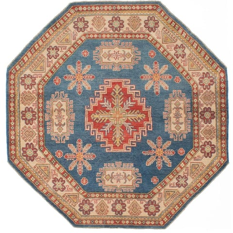 "ECARPETGALLERY Hand-knotted Finest Gazni Blue Wool Rug - 6'8"" x 6'8"" Octagon"