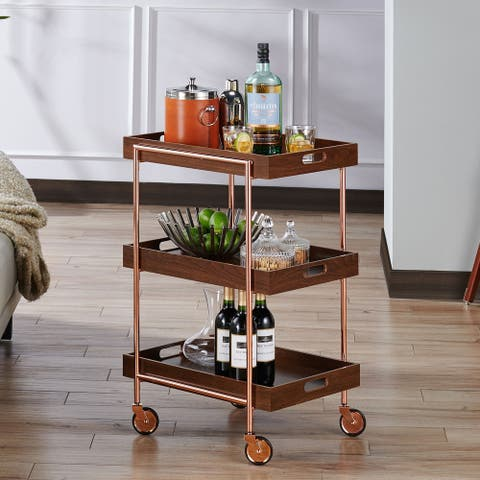 The Curated Nomad Highland Contemporary Walnut Kitchen Cart