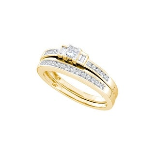 14k Yellow Gold Princess Baguette 3-stone Natural Diamond Womens Wedding Bridal Ring Set 1/2 Cttw - White