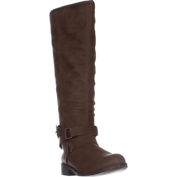 madden girl Corporel Flat Riding Boots, Cognac