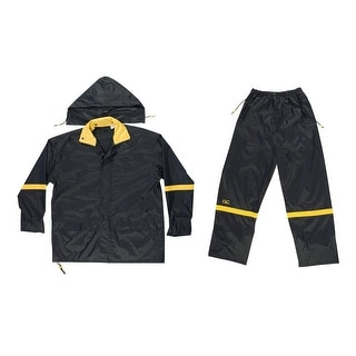 CLC R103L 3 Piece Deluxe Nylon Rain Suit, Black, Large