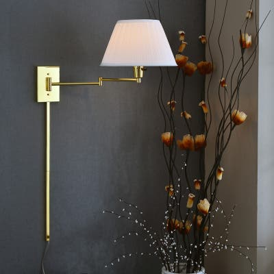 Design Craft Varallo Polished Brass Wall Swing Arm Lamp