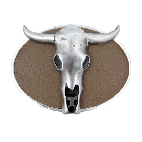 Pewter Finished Western Steer Skull Belt Buckle