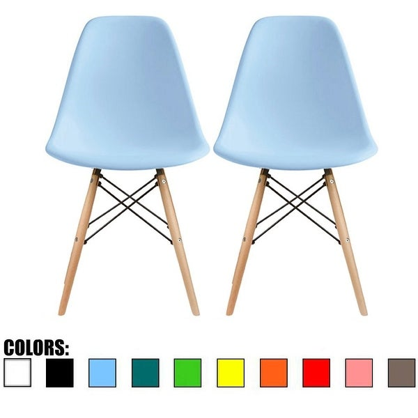 2xhome   Set Of 2, Blue Plastic Eiffel Chairs Solid Wood Legs Dining   N