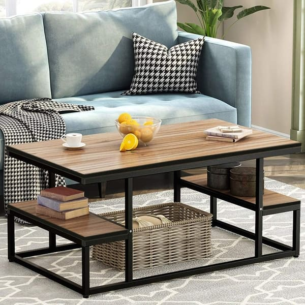 Shop Modern Industrial Coffee Table 48 Rectangular Cocktail