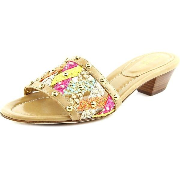Eric Javits New York Maribel Women Open Toe Leather Slides Sandal