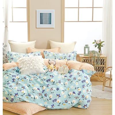 Lannie Blue/Yellow Floral 100% Cotton Reversible Comforter Set