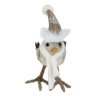 """6"""" Winter's Beauty Standing Bird in Scarf and Santa Hat Christmas Figure Decoration"""
