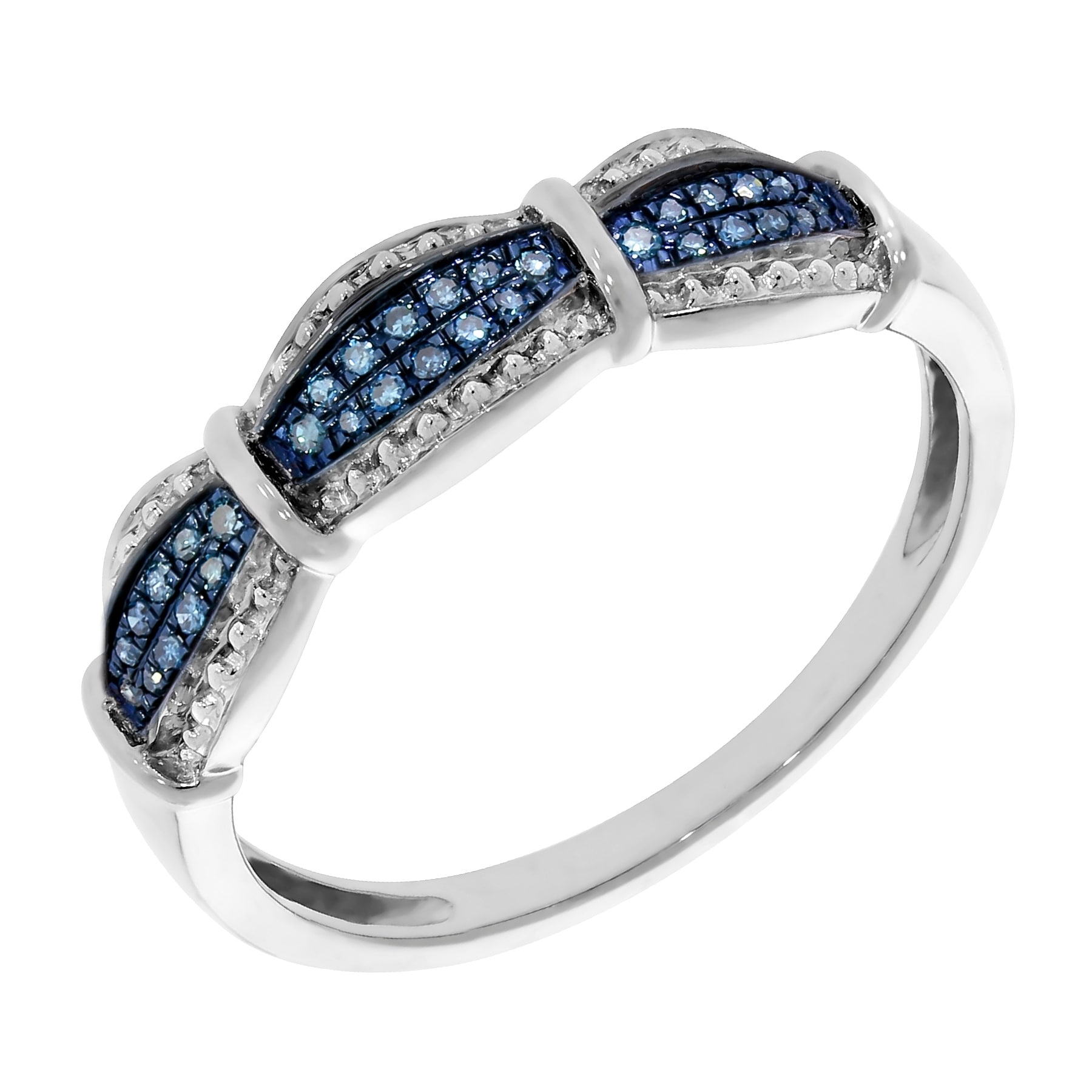 Prism Jewel 0.10Ct Round Brilliant Cut Blue Diamond Half Eternity Ring - Thumbnail 0