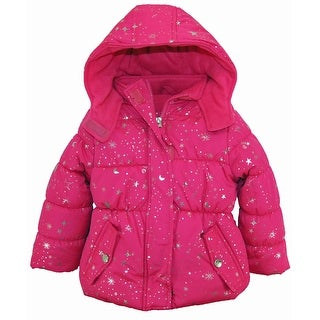 Pink Platinum Little Girls Puffer Coat with Silver Starts Print Winter Jacket