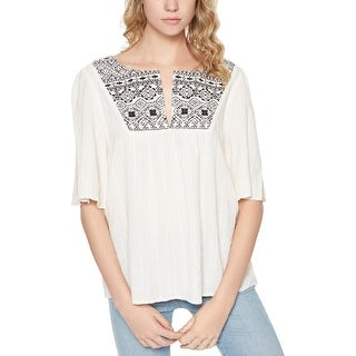 Sanctuary Womens Zambia Peasant Top Embroidered Short Sleeves (5 options available)