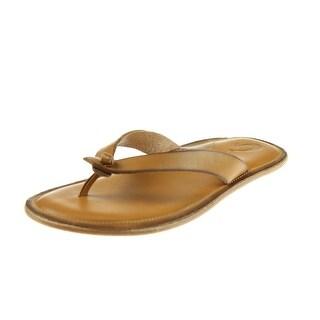 OluKai Womens Li'I Flip-Flops Leather Knot-Front