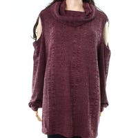 Socialite NEW Red Womens Size 2X Plus Cold-Shoulder Cowl Neck Sweater