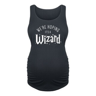 Were Hoping Its A Wizard - Ladies Maternity Tank