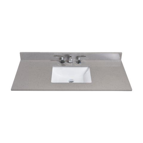 Altair Design Imperia 49 in. Mountain Gray Bathroom Vanity Top with White Sink