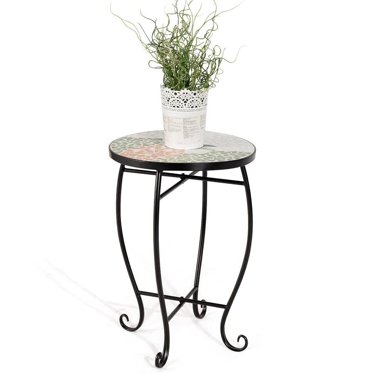 Costway Pineapple Outdoor Indoor Accent Table Plant Stand Scheme Garden  Steel