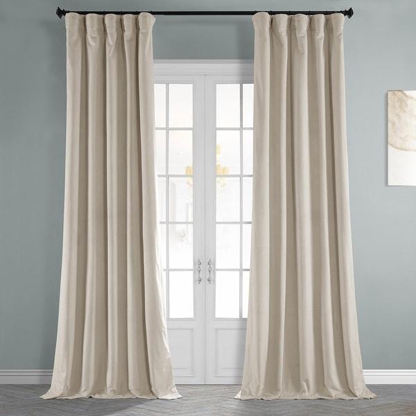 Exclusive Fabrics Signature Light Beige Velvet Blkt Curtain. Opens flyout.
