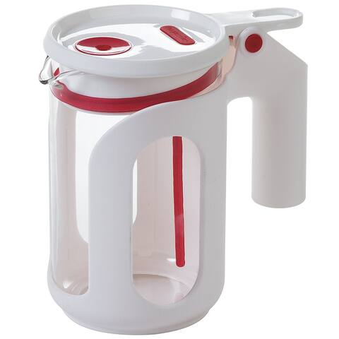 Progressive Prep Solutions Microwave Whistling Tea Kettle, White & Red