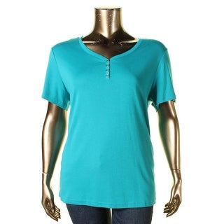 Karen Scott Womens Plus Pullover Top 100% Cotton Button Accent