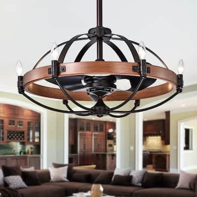 Gredis Black/Wood Finish Metal 6-light 30-inch Ceiling Fan Chandelier