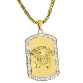 "Medusa Face Pendant Dog Tag 18K Gold Tone Simulated Diamonds Steel 24"" Necklace"