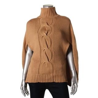 525 Womens Wool Mock Turtleneck Poncho Sweater - o/s