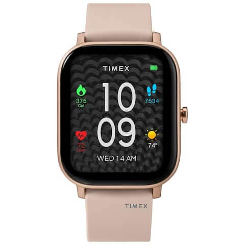 Timex Metropolitan S AMOLED Smartwatch with GPS & Heart Rate 36mm - Rose Gold-Tone with Blush Silicone Strap