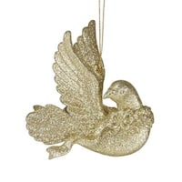 Nature's Beauty Gold Glittery Dove w/ Head Turned Christmas Ornament 4""