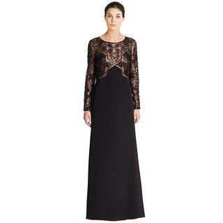 Tadashi Shoji Embellished Mesh Bodice Long Sleeve Evening Gown Dress - 2
