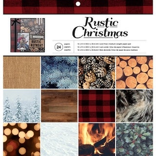 """American Crafts Single-Sided Paper Pad 12""""X12"""" 24/Pkg-Rustic Christmas, 12 Designs/2 Each"""