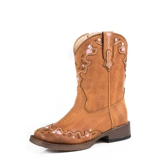 Roper Western Boots Girls Hearts Faux Leather Tan 09-017-1901-0996 TA