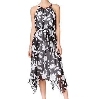 Sangria NEW Black White Belted Chiffon 14 Print Asymmetrical Hem Dress