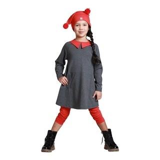 KidCuteTure Little Girls Charcoal Back To School Tina Fall Designer Dress 2-6