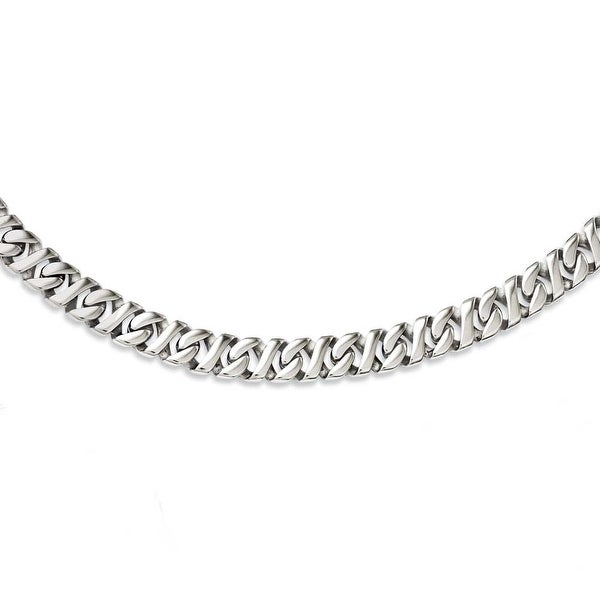 Chisel Stainless Steel Polished Link 24in Necklace (9 mm) - 24 in