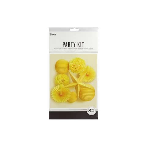 Darice Kit Party Hanging Decor Yellow 8pc