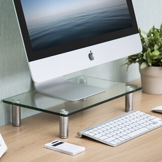 Fitueyes Glass Monitor Stand Computer Laptop TV Screen Riser Desk Organiser