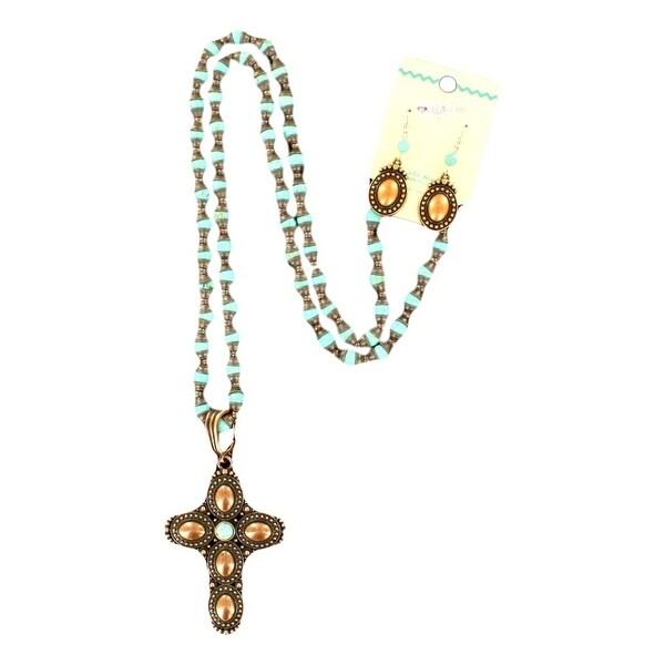 Blazin Roxx Jewelry Women Necklace Earrings Cross Antique Bronze 29080