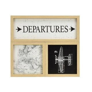"""Brewster NH2685  InHome Vintage Escape 16-3/8"""" x 18-1/2"""" - Departures - Framed MDF Decorative Panel - Set of (3) - Multi-Color"""