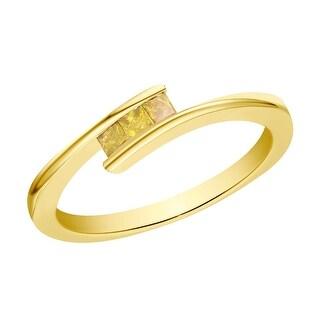 Prism Jewel 0.18Ct Princess Cut 2.00MM Yellow Color Diamond 3-Stone Ring