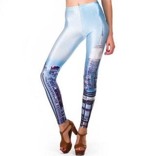 Fashion Lady Pattern Printed NYC Skyline Stretch Tight Leggings Skinny Pants