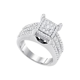 1 1/2Ctw Diamond Bridal Engagement Ring 10K White-Gold