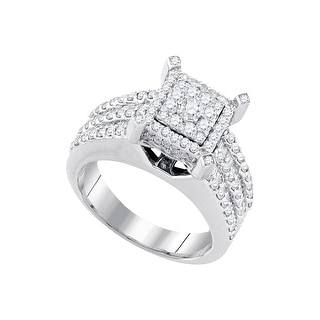 1 1/2Ctw Diamond Bridal Engagement Ring 10K White-Gold