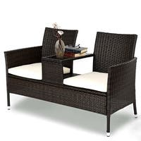 Costway Patio Rattan Chat Set Seat Sofa Loveseat Table Chairs Conversation Cushioned - AS PIC