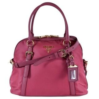Prada 1BB013 Tessuto Ibisco Pink Nylon Bauletto Satchel Purse W/Strap