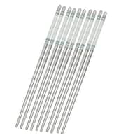 "Unique Bargains 5 Pairs 8.9"" Long Stainless Steel Gray White Flower Print Chopsticks"