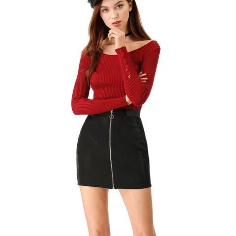 Women's Zip Front Elastic Waist Bodycon Mini Skirt - Black
