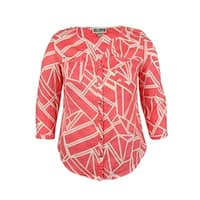 JM Collection Women's Split-Neck Abstract Linen Top - horizons coral - 8