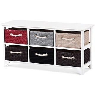 Costway Wicker Basket Storage Unit Chest Wooden Frame 6 Drawer Baskets Organizer Shelf
