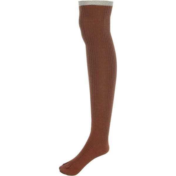 Free People Womens Over-the-Knee Socks Ribbed Metallic - o/s